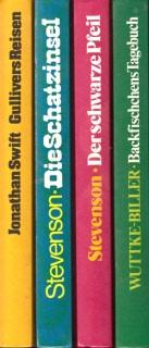 Backfischchens Tagebuch - Der schwarze Pfeil - Die Schatzinsel - Gullivers Reisen 4 Bücher
