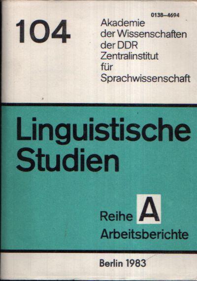 Untersuchungen zu Funktionswörtern Linguistische Studien Reihe A Arbeitsbericht 104