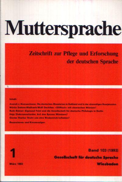 Muttersprache Band 103 Zeitschrift zur Pflege und Erforschung der deutschen Sprache
