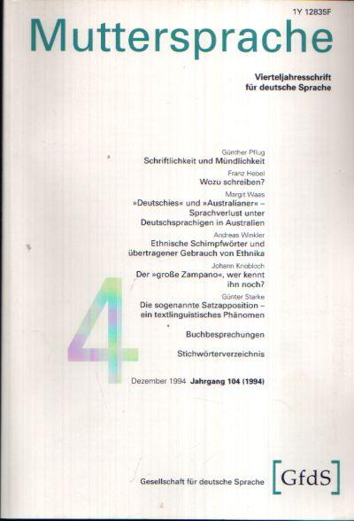 Muttersprache Band 104 Vierteljahresschrift für deutsche Sprache