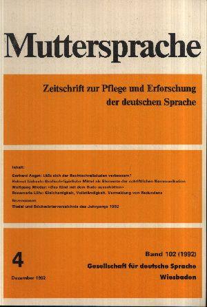 Muttersprache Band 102 Zeitschrift zur Pflege und Erforschung der deutschen Sprache