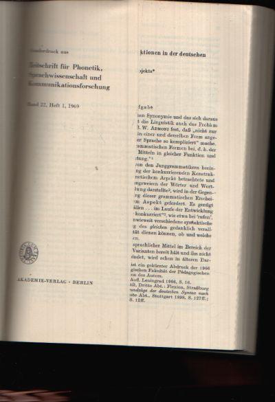Zeitschrift für Phonetik, Sprachwissenschaft und Kommunikationsforschung Band 22, Heft 1 bi 3