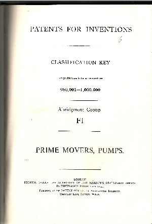 Patents for Inventions - Prime Movers, Pumps