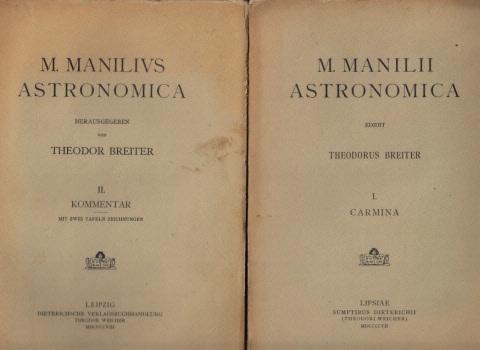 M. Manilivs Astronomica I. und II.