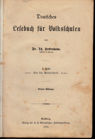 Deutsches Lesebuch für Volksschulen - I. Teil Für die Mittelstufe