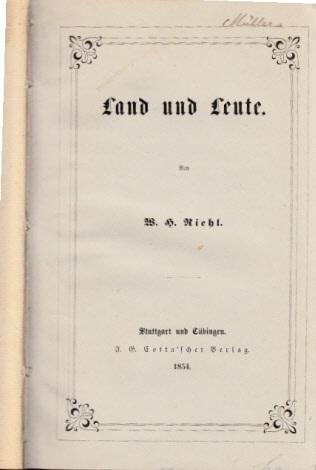 Die Naturgeschichte des Volkes als Grundlage einer deutschen Social-Politik - erster Band: Land und Leute