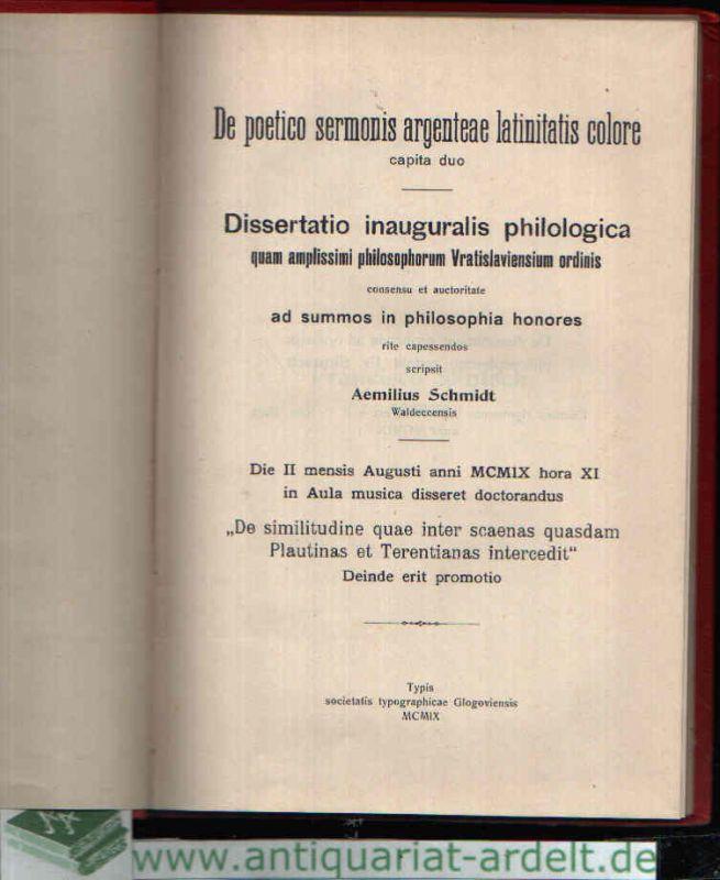 Dissertatio inauguralis philologica quam amplissimi philosophorum Vratislaviensium ordinis De poetico sermonis argenteae latinitatis colore