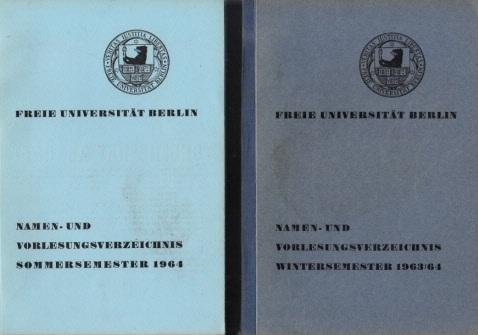 Freie Universität Berlin - Namen- und Vorlesungsverzeichnis Sommersemester 1964 + Wintersemester 1963/ 64