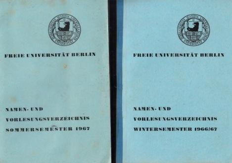 Freie Universität Berlin - Namen- und Vorlesungsverzeichnis Sommersemester 1967 + Wintersemester 1966/ 67