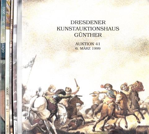 Dresdner Auktionhaus Günther - Auktion 41/1999, 43/1999, 44/1999, 46/2000, 54/2002, 5 Kataloge