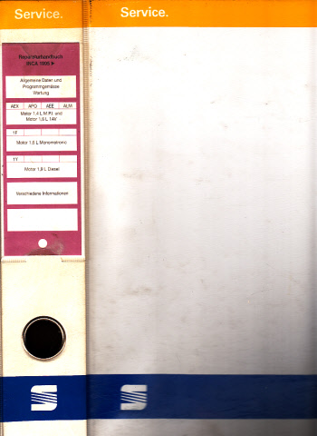 Seat Inca - Reparaturhandbuch - Allgemeine Daten und Programmgemässe Wartung - Motor 1,4 L M.P.I. und 1,6 L 1AV - Motor 1,6 L Monomotronic - Motor 1,9 L Diesel - Verschiedene Informationen