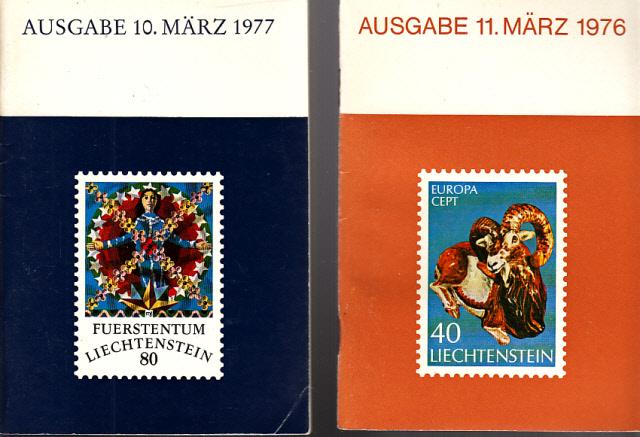 Briefmarkenausgabe vom 10. März 1977 + Briefmarkenausgabe vom 11. März 1976 2 Heftchen