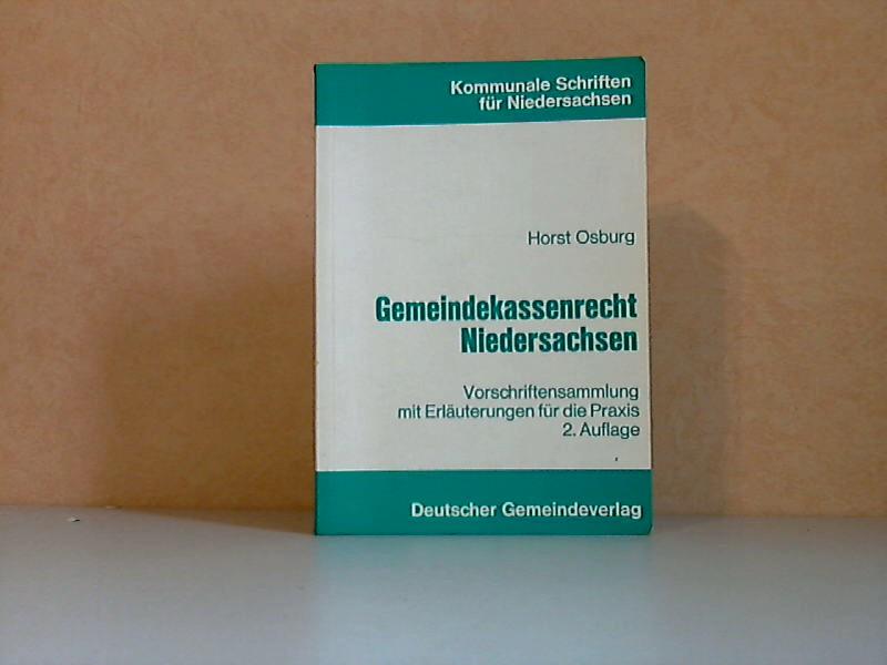 Gemeindekassenrecht Niedersachsen Kommunale Schriften für Niedersachsen, Sammlung Kommunaler Gesetze 27