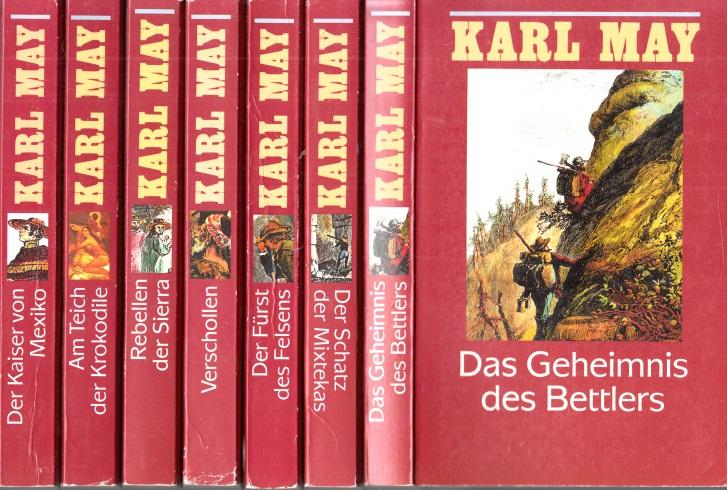 """Karl May in 74 Bänden: Roman """"Das Waldröschen"""" Band 1 bis 7: Das Geheimnis des Bettlers - Der Schatz der Mixtekas - Der Fürst des Felsens - Verschollen - Rebellen der Sierra - Am Teich der Krokodile - Der Kaiser von Mexiko 7 Bücher"""
