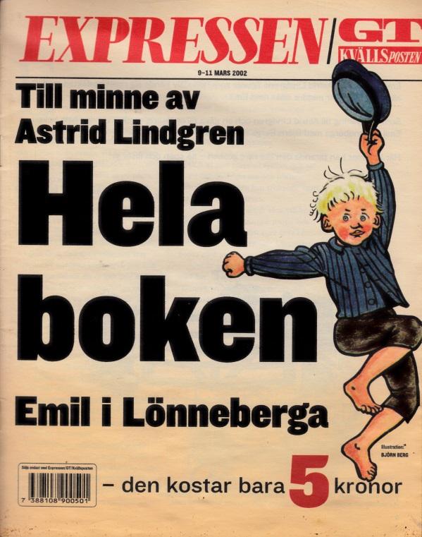 Till minne av Astrid lindgren Hela boken Emil i Lönneberga Wustrattonen Björn Berg