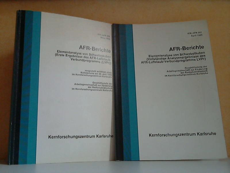 AFR-Berichte - Elementanalyse von Schwebstäuben - Erste Ergebnisse des AFR-Luftstaub-Verbundprogramms LVPr + Vollständige Analysenergebnisse des AFR-Luftstaub-Verbundprogrammes LVPr 2 Bücher