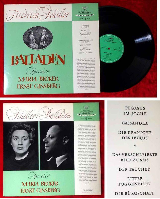 LP Maria Becker & Ernst Ginsberg: Balladen von Friedrich Schiller (DGG 43 007) D