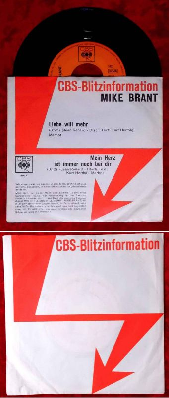 Single Mike Brant: Liebe will mehr (CBS 5027) D 1970 CBS Blitzinformation