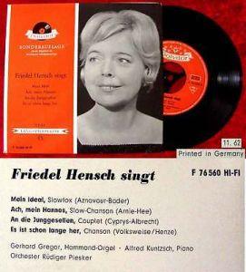 EP Friedel Hensch singt (Polydor F 76 560) D 1962 Clubsonderauflage