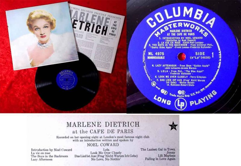 LP Marlene Dietrich At the Café de Paris (Columbia ML 4975) im Schuber (US)