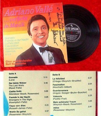 LP Adriano Vall?: Verliebt in Musik 1969 Signiert