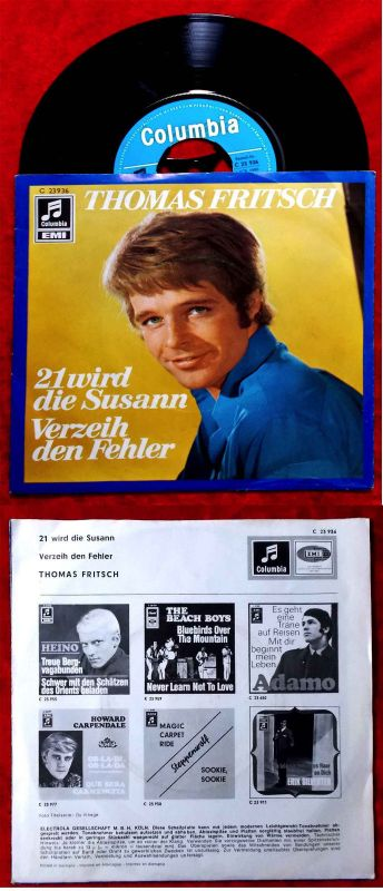 Single Thomas Fritsch: 21 wird die Susann (Columbia C 23 936) D 1969