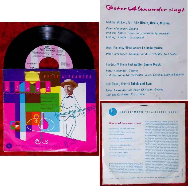 EP Peter Alexander singt (Bertelsmann 36 090) D
