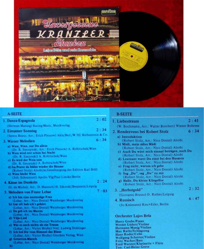 LP Lajos Bela & sein Ensemble: Unvergessene Kranzler Stunden (Marifon 47 870) D