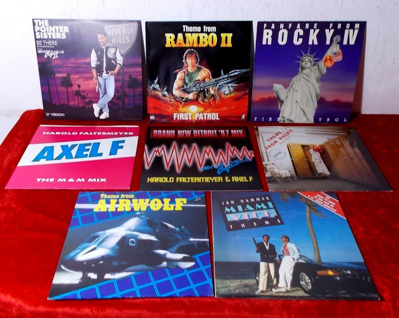 8 Maxi Singles Film & TV Themes Rocky Rambo Miami Vice Airwolf Beverly Hills Cop