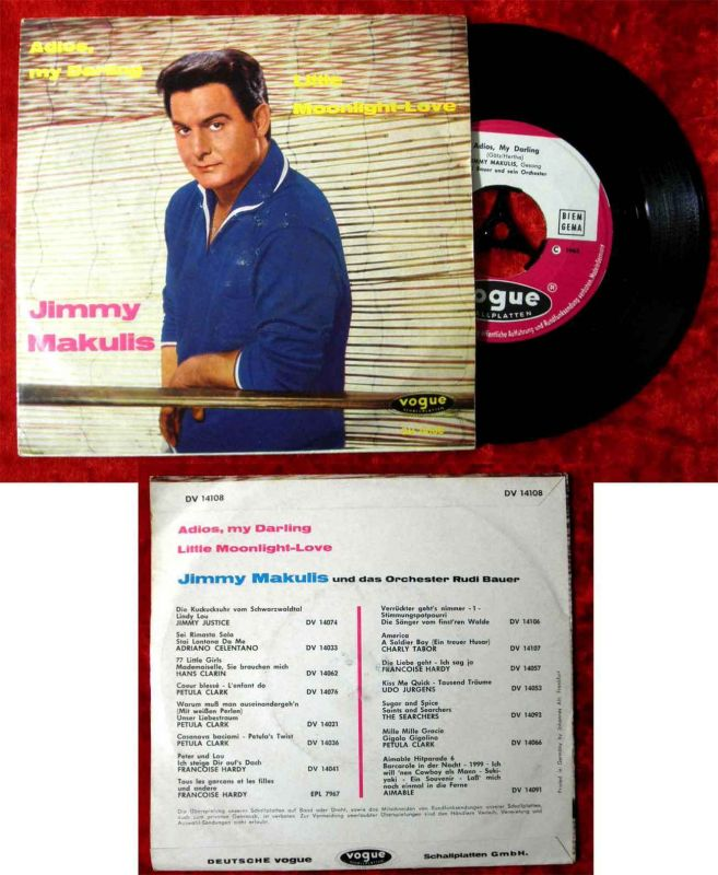Single Jimmy Makulis: Adios my Darling (Vogue DV 14108) D 1963