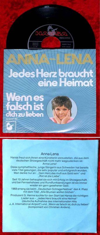 Single Anna Lena: Jedes Herz braucht eine Heimat (Hansa 12 559 AT) D 1971