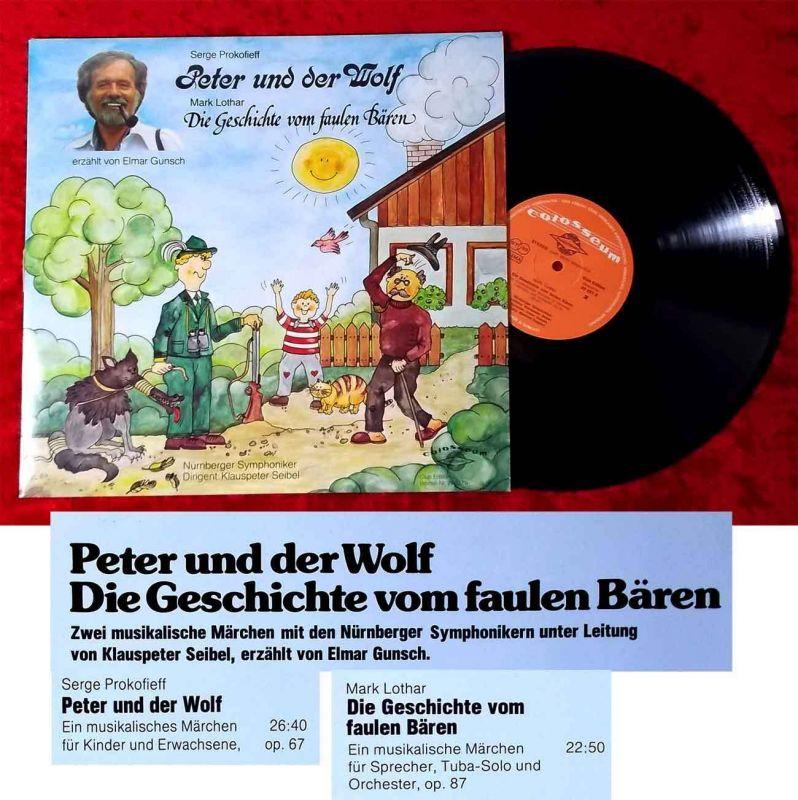 LP Elmar Gunsch erzählt Peter und der Wolf / Geschichte vom faulen Bären