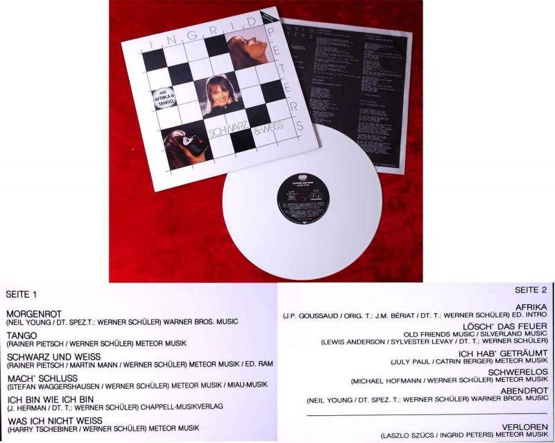 LP Ingrid Peters: Schwarz & Weiss (Jupiter 625909 BO) White Vinyl  D 1984