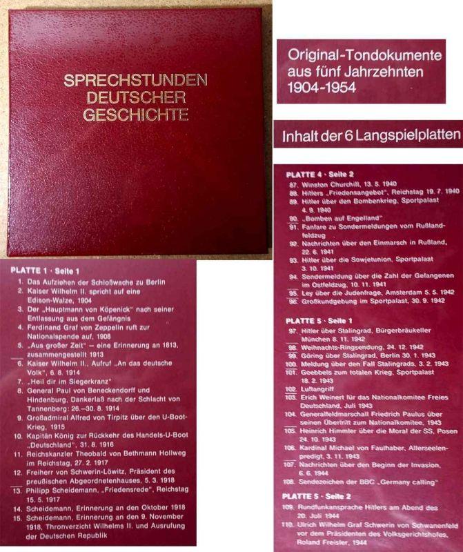 6LP Box Sprechstunden Deutscher Geschichte 1904 - 1954 Neuwertig