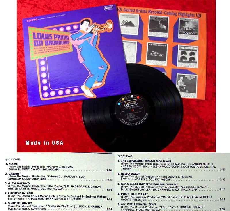 LP Louis Prima On Broadway (United Artists UAS 6596) US