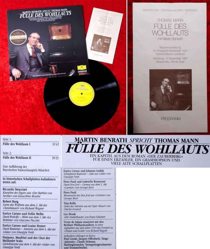 LP Martin Benrath: Fülle des Wohllauts (DGG 423 464-1) D 1987 mit Programmheft
