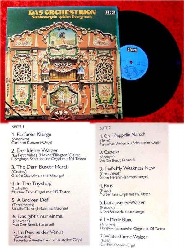 LP Das Orchestrion Straßenorgeln spielen Evergreens (19