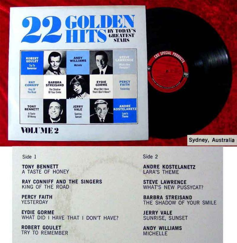 LP 22 Golden Hits Ray Conniff Barbra Streisand Eydie Gorme  Percy Faith Vol. 2