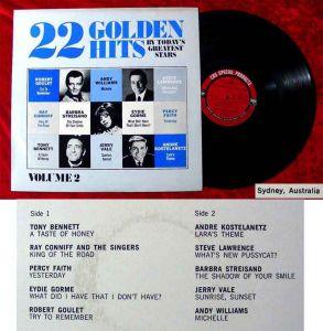 LP 22 Golden Hits Ray Conniff Barbra Streisand Eydie Gorme  Percy Faith Vol. 2
