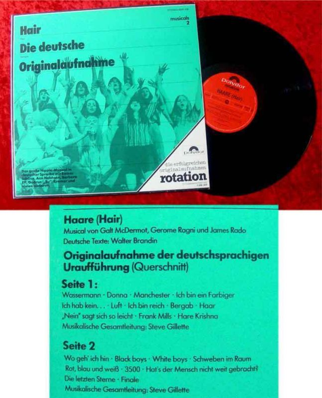 LP Hair - deutsche Originalaufnahme 1968 Su Kramer Reiner Schöne Rotation Serie