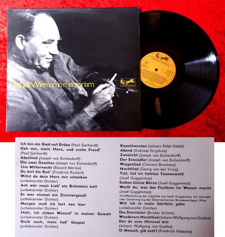LP Mathias Wieman In Memoriam (Ariola Athena 80 204 ZW) D 1970