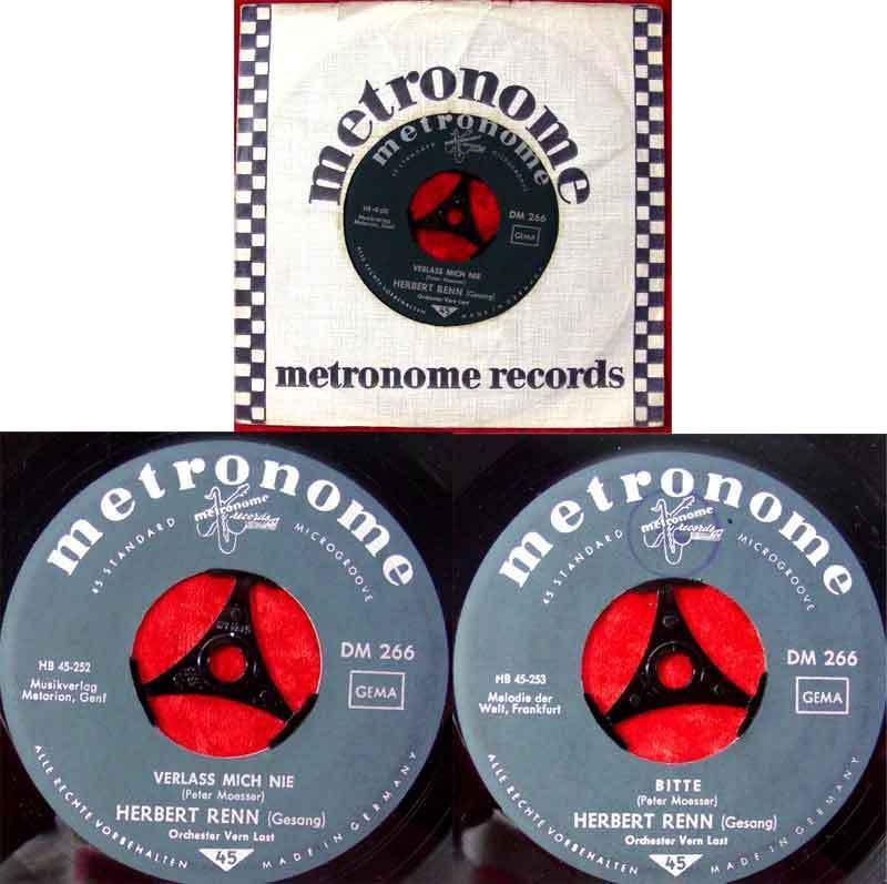 Single Herbert Renn & Orchester Vern Last: Verlass mich nie (Metronome 45-252) D