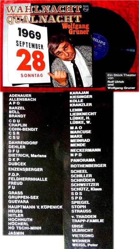 LP Wolfgang Gruner: Wahlnacht - Qualnacht 28. September 1969 (Philips 844 369)