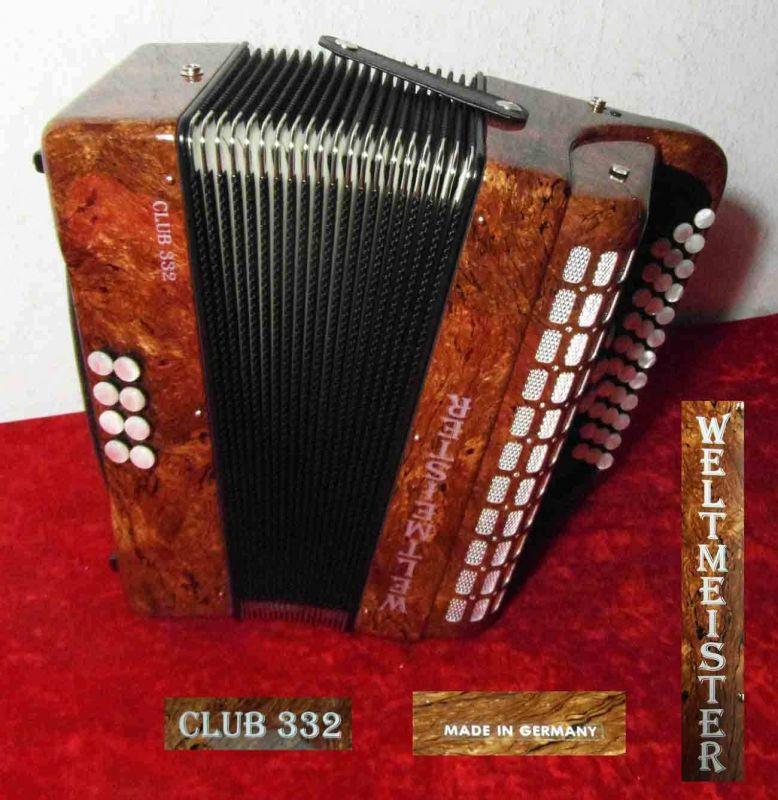 Knopfakkordeon WELTMEISTER Club 332 im Transportkoffer - sehr gepflegt - TOP!!!