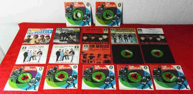17 Original BEATLES Singles auf deutscher Odeon - 1960´s - Vinylsammlung -
