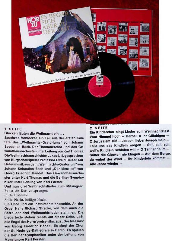 LP Es begab sich ber zu der Zeit Lieder & Musik zur Weihnacht (Hör Zu SHZE 109)
