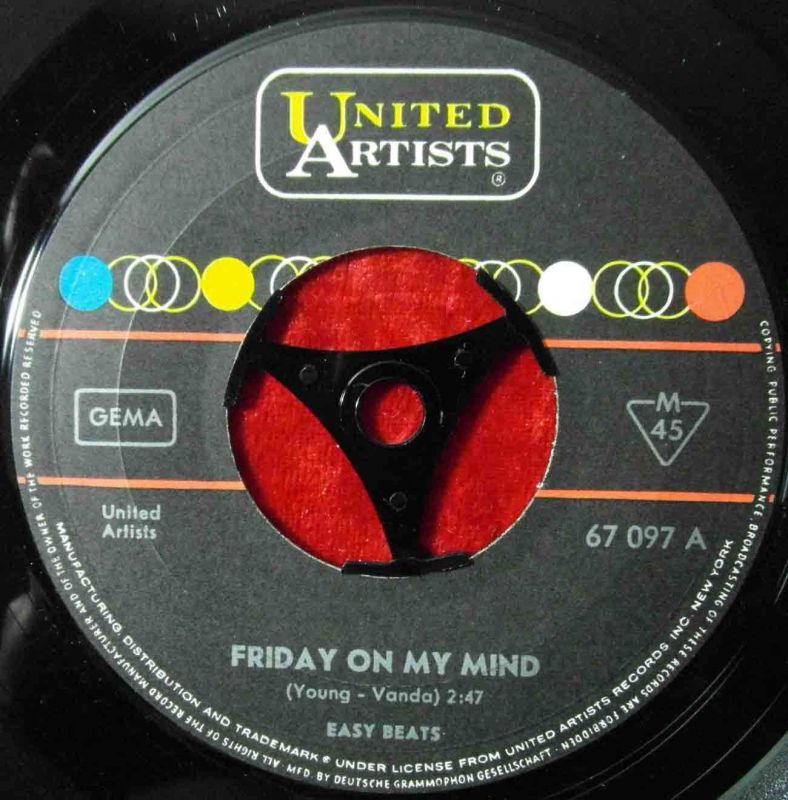 Single Easybeats: Friday On My Mind (United Artists 67 097) D 1967 2
