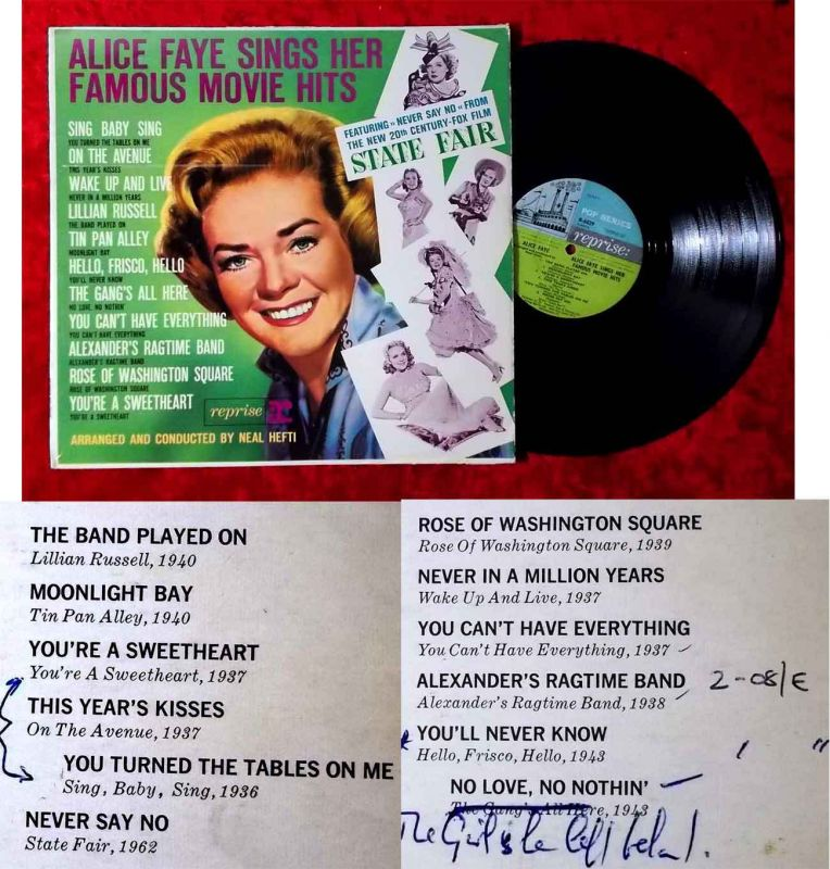 LP Alice Faye Sings Her Famous Movie Hits (Reprise R 6029) UK 1962