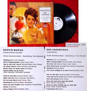 LP Gräfin Mariza / Zarewitsch (Polydor Stereo 237 173) D 1965 Promo