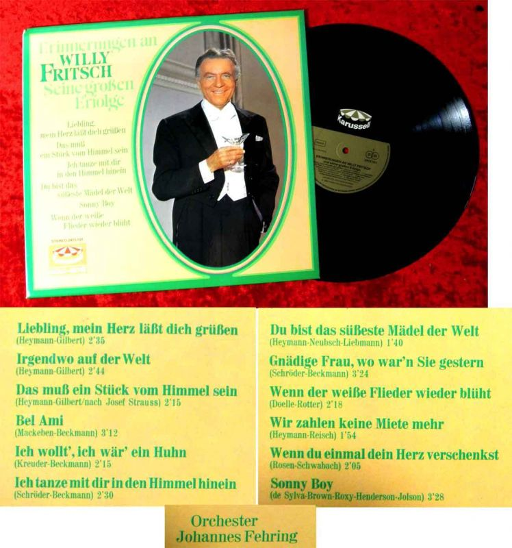 LP Willy Fritsch: Erinnerungen  - Seine großen Erfolge (Karussell 2415 101) D 66